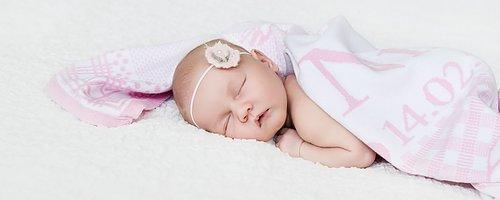 Kocyk dla noworodka i niemowlaka Imię dziecka, data urodzenia, godzina urodzenia, wzrost i waga z dnia narodzin