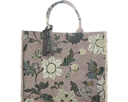 SHOPPER DUSTY PINK FLOWER LINEN INKOMMER MAJ SHOPPING VÄSKA