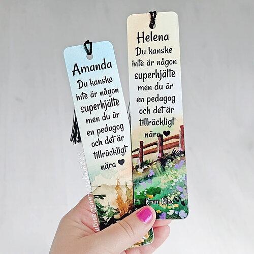 Kirjanmerkit tupsulla Valitse teksti ja design 10€