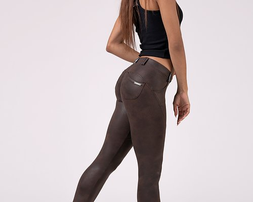 Leather Look Bubble Butt Pants, brown